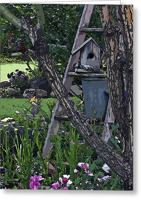 Garden Scene Greeting Cards - For Rent Greeting Card by Sandra Foster
