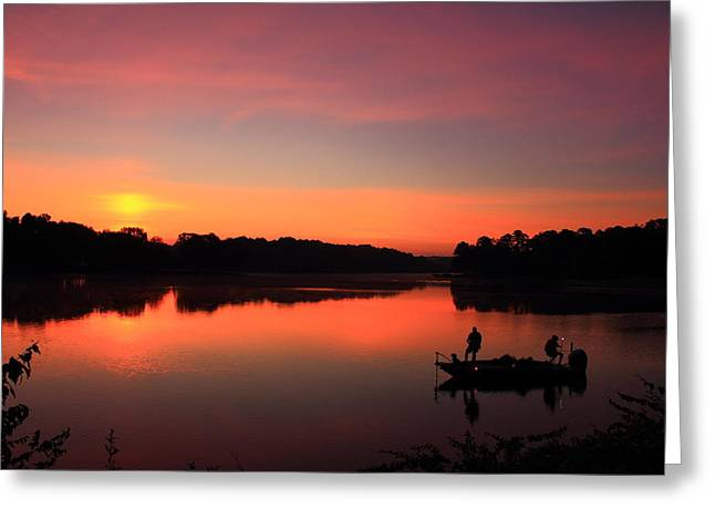 Stream Greeting Cards - For The Love Of Fishing Sunrise Reflections Greeting Card by Reid Callaway