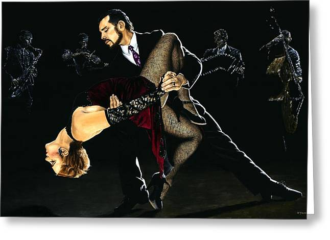 Dancer Art Greeting Cards - For the Love of Tango Greeting Card by Richard Young