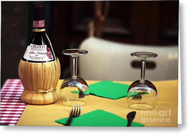 Chianti Greeting Cards - For Two Greeting Card by John Rizzuto