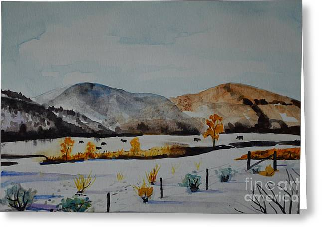 Grazing Snow Greeting Cards - Foraging In The Snow Greeting Card by Terri Robertson