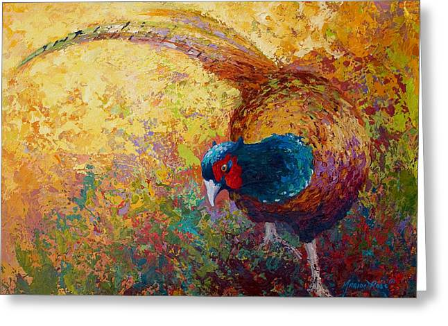 Prairie Greeting Cards - Foraging Pheasant Greeting Card by Marion Rose