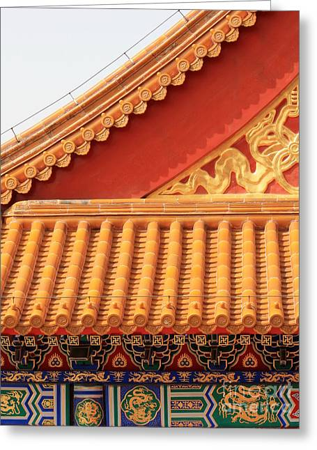 Roof Tile Greeting Cards - Forbidden City Rooftop Splendor Greeting Card by Carol Groenen