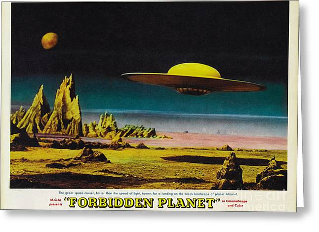 Forbidden Planet In Cinemascope Retro Classic Movie Poster Detailing Flying Saucer Greeting Card by R Muirhead Art