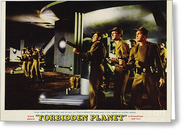 Forbidden Planet In Cinemascope Retro Classic Movie Poster Fighting The Invisible Alien Greeting Card by R Muirhead Art