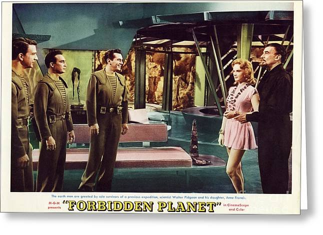 Forbidden Planet In Cinemascope Retro Classic Movie Poster Indoors Greeting Card by R Muirhead Art