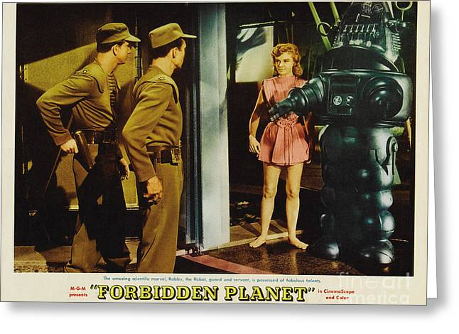 Forbidden Planet In Cinemascope Retro Classic Movie Poster Indoors With Robby Greeting Card by R Muirhead Art