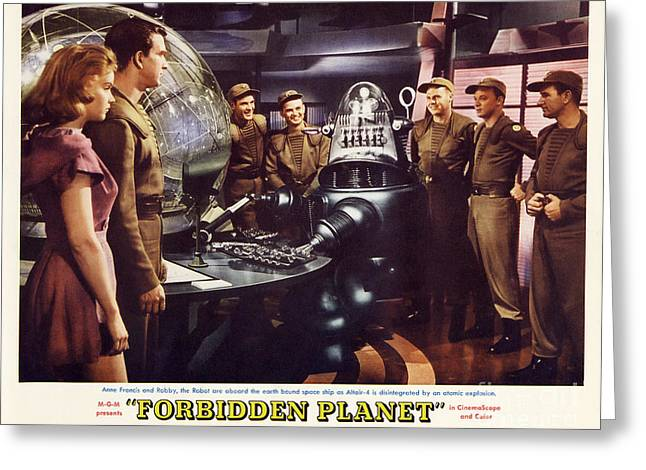 Forbidden Planet In Cinemascope Retro Classic Movie Poster Landscape Greeting Card by R Muirhead Art