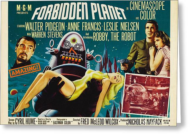 Forbidden Planet In Cinemascope Retro Classic Movie Poster Greeting Card by R Muirhead Art