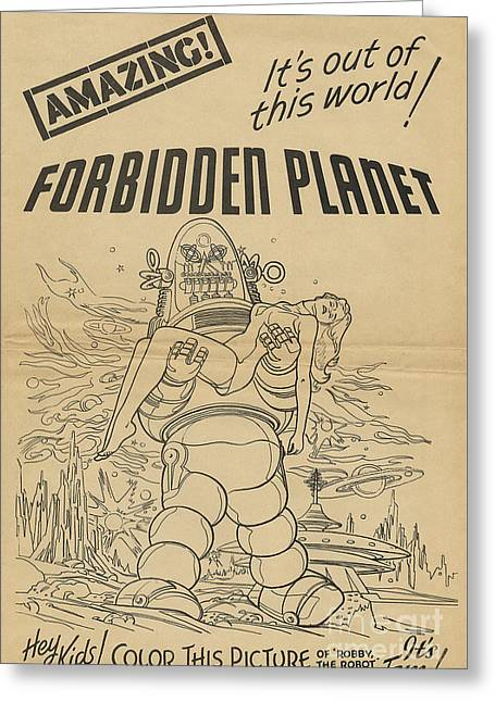 Forbidden Planet In Color This Picture Retro Classic Movie Poster Portraite Greeting Card by R Muirhead Art
