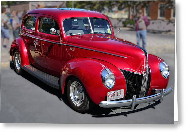 Ford 40 In Red Greeting Card by Larry Bishop