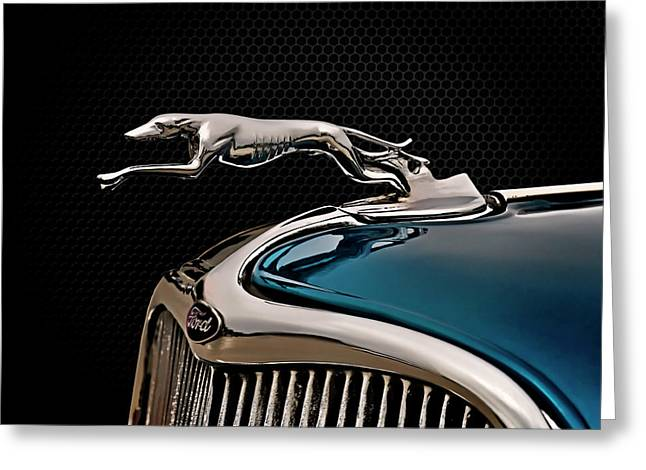 Vintage Hood Ornaments Digital Art Greeting Cards - Ford Blue Dog Greeting Card by Douglas Pittman