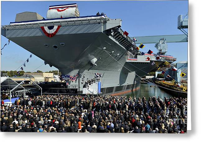 Ford-class Supercarrier In The Newport Greeting Card by Stocktrek Images
