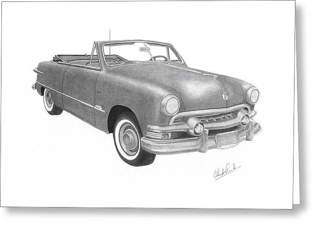 1951 Drawings Greeting Cards - Ford convertible 1951 Greeting Card by Claude Prud