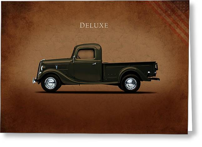 Classic Pickup Truck Greeting Cards - Ford Deluxe Pickup 1937 Greeting Card by Mark Rogan
