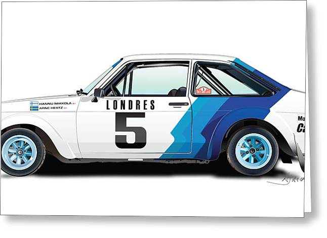 Rally Greeting Cards - Ford Escort Greeting Card by Alain Jamar