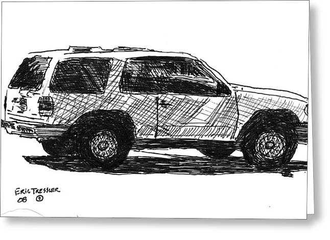 Pen And Ink Drawing Photographs Greeting Cards - Ford Explorer Greeting Card by Eric Tressler