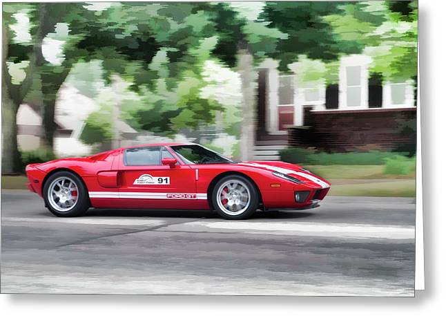 Ford Gt Entering Lake Mills Greeting Card by Joel Witmeyer