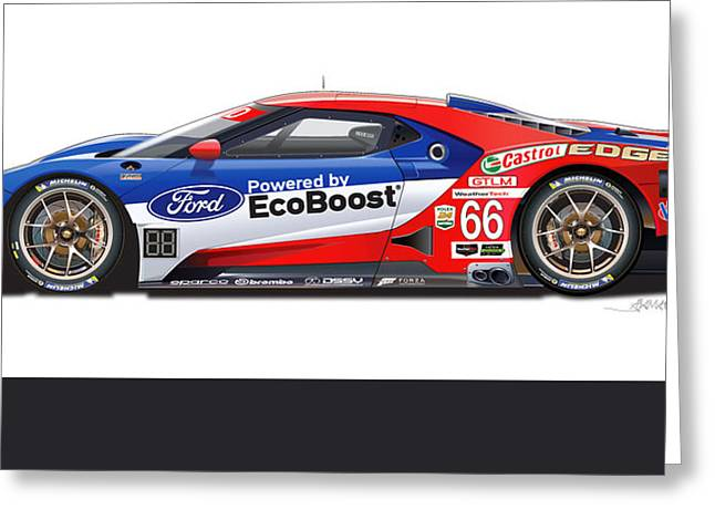 Lm Greeting Cards - FORD GT Le Mans illustration Greeting Card by Alain Jamar