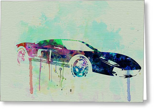 Ford Greeting Cards - Ford GT Watercolor 2 Greeting Card by Naxart Studio