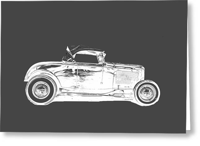 Ford Model T Car Greeting Cards - Ford Hot Rod Invert White Ink Tee Greeting Card by Edward Fielding