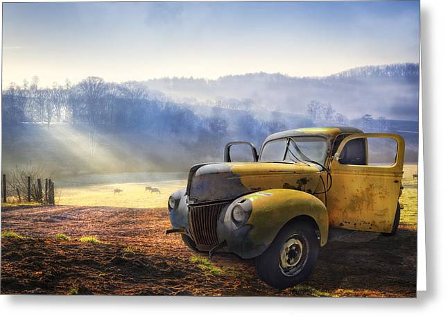 Greeting Cards - Ford in the Fog Greeting Card by Debra and Dave Vanderlaan