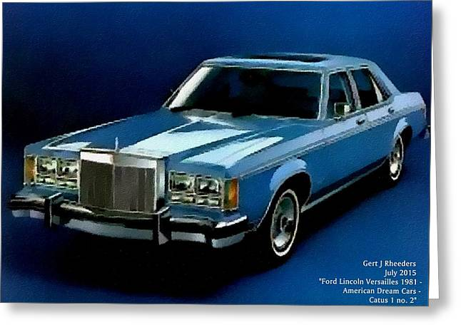 Abstract Digital Pastels Greeting Cards - Ford Lincoln Versailles - American Dream Cars Catus 1 no.2 H A Greeting Card by Gert J Rheeders