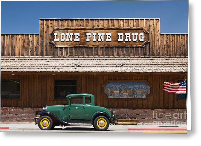Old West Towns In California Greeting Cards - Ford Model A and Drug Store Greeting Card by Ei Katsumata