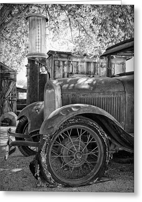 Rusted Cars Greeting Cards - Ford Model A at the Gas Pump Greeting Card by Troy Montemayor