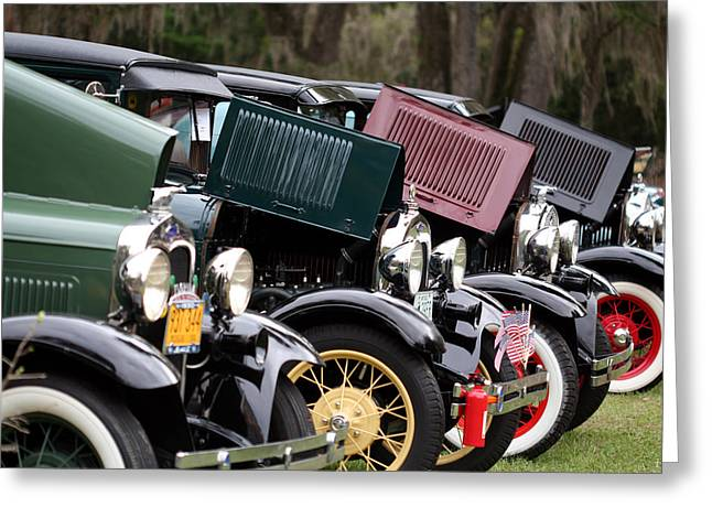 Ford Model A Line Up Greeting Card by April Wietrecki Green