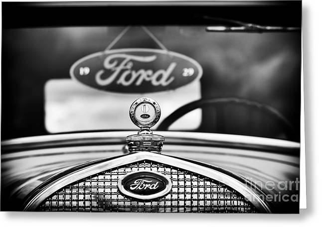 Ford Model A Greeting Cards - Ford Model A Monochrome Greeting Card by Tim Gainey