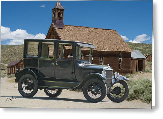 Ford Model T Car Greeting Cards - Ford Model T Antique Sedan Greeting Card by Dave Koontz