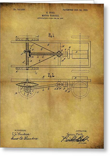 Ford Model T Patent Greeting Card by Dan Sproul