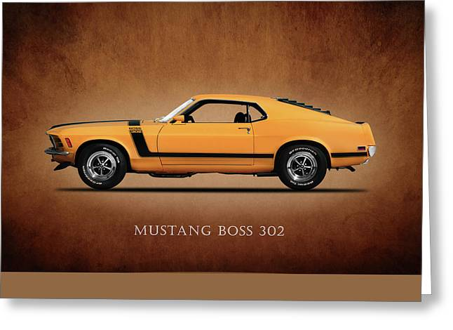 Classic Ford Greeting Cards - Ford Mustang Boss 302 Greeting Card by Mark Rogan