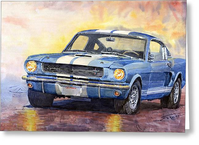 Watercolor Paper Greeting Cards - Ford Mustang GT 350 1966 Greeting Card by Yuriy Shevchuk