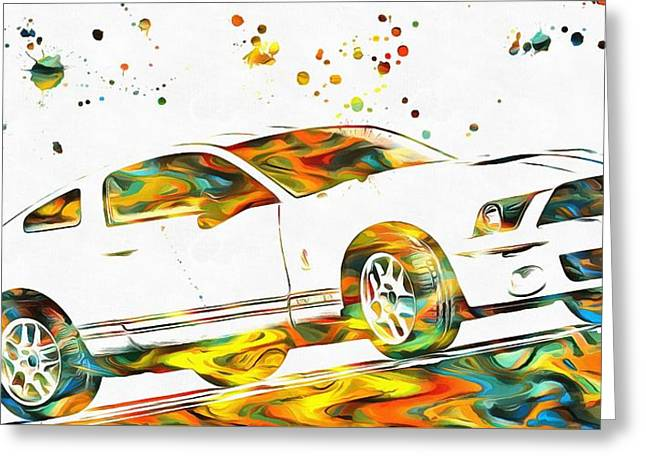 Collector Car Mixed Media Greeting Cards - Ford Mustang Paint Splatter Greeting Card by Dan Sproul