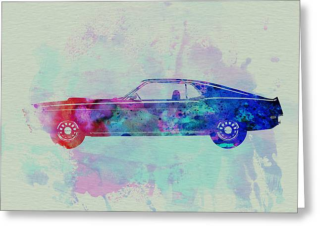 Historic Drawings Greeting Cards - Ford Mustang Watercolor 1 Greeting Card by Naxart Studio