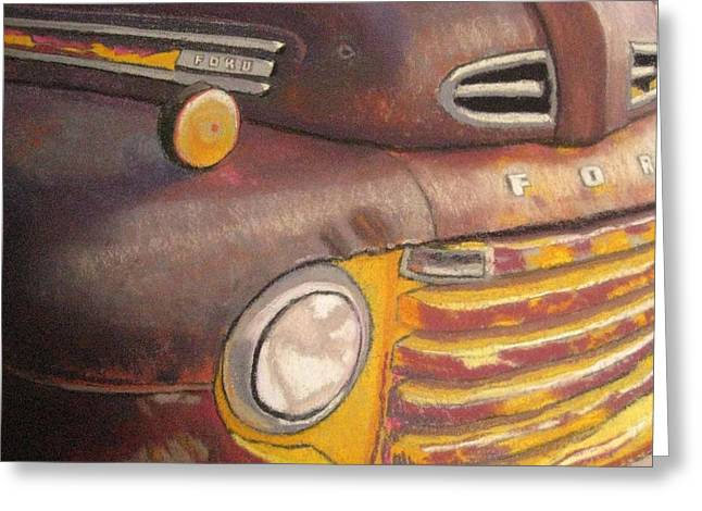 Headlight Pastels Greeting Cards - Ford ORust Greeting Card by Constance Gehring