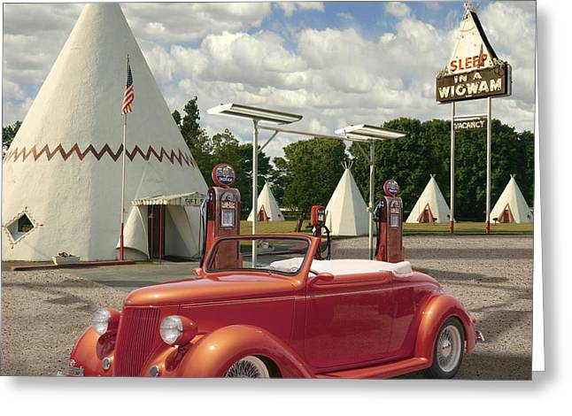 Service Station Greeting Cards - Ford Roadster At An Indian Gas Station 2 Greeting Card by Mike McGlothlen
