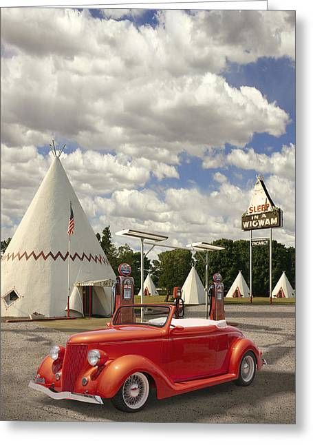 Service Station Greeting Cards - Ford Roadster at an Indian Gas Station Greeting Card by Mike McGlothlen