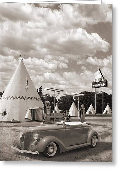 Hot Rod Art Greeting Cards - Ford Roadster At An Indian Gas Station Sepia Greeting Card by Mike McGlothlen