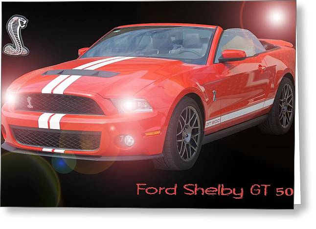 Cobra Poster Greeting Cards - Ford Shelby GT 500 Greeting Card by David and Lynn Keller