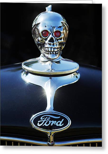 Hot Rod Photography Greeting Cards - Ford Skull Hood Ornament Greeting Card by Jill Reger