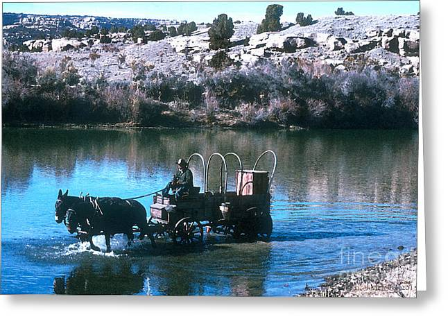 Horse Driven Wagon Greeting Cards - Ford The River Greeting Card by Jerry McElroy