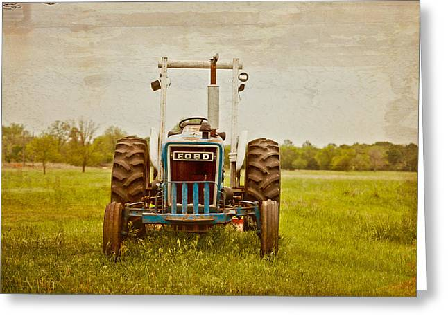 Ford Tractor Greeting Card by Toni Hopper