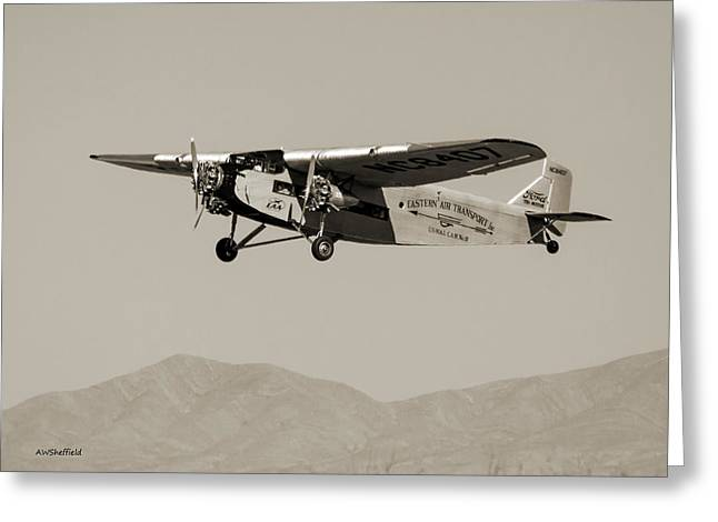 Ford Tri-motor Greeting Cards - Ford Tri-Motor Taking Off - Sepia Tone Greeting Card by Allen Sheffield