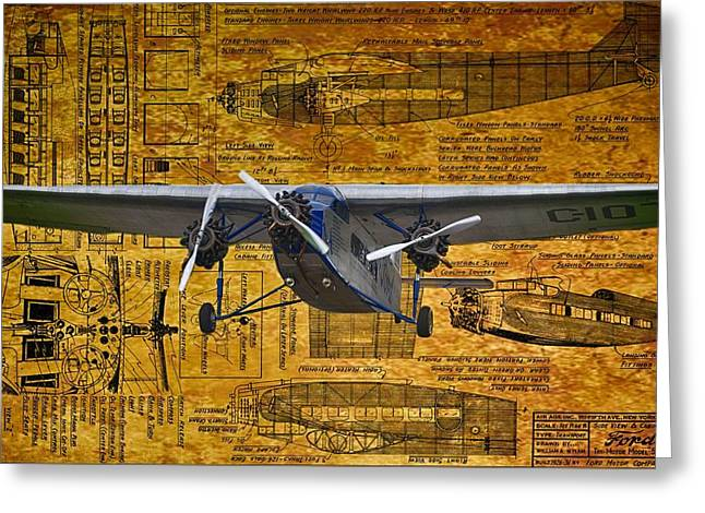 Ford Trimotor Greeting Cards - Ford TriMotor 2 Greeting Card by Todd and candice Dailey