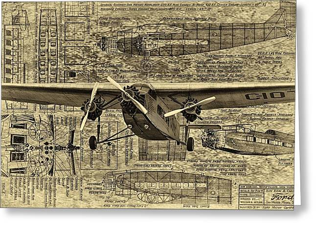 Ford Trimotor Greeting Cards - Ford Trimotor 3 Greeting Card by Todd and candice Dailey