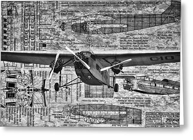 Ford Trimotor Greeting Cards - Ford TriMotor 4 Greeting Card by Todd and candice Dailey
