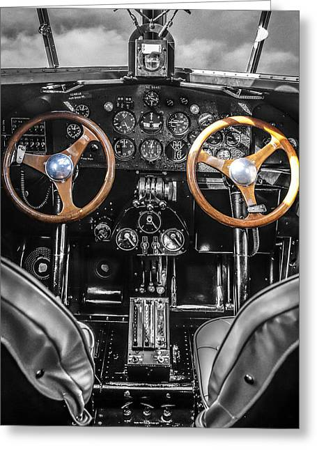 Ford Trimotor Cockpit Greeting Card by Chris Smith